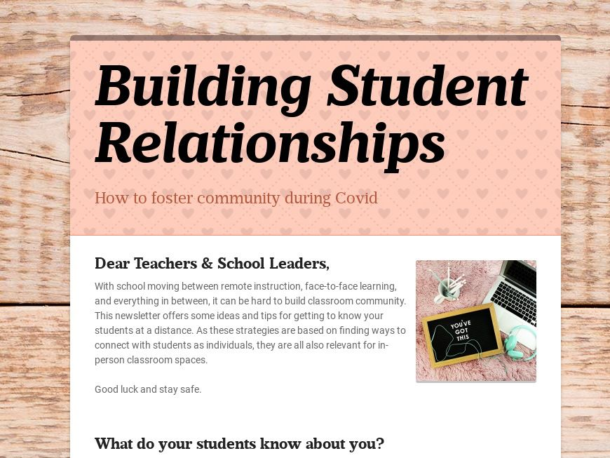 Building Student Relationships Newsletter Template
