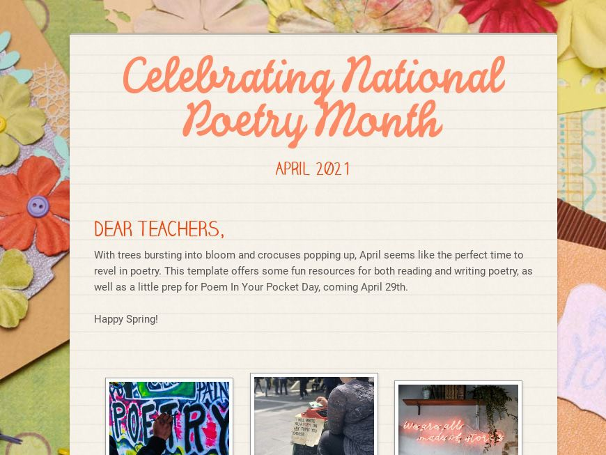 National Poetry Month Ideas for Educators