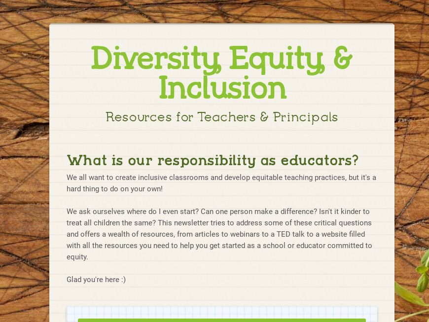Diversity, Equity and Inclusion for Educators