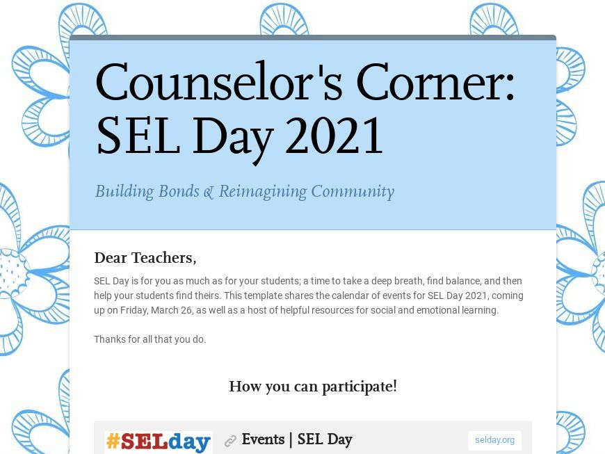 SEL Day Template