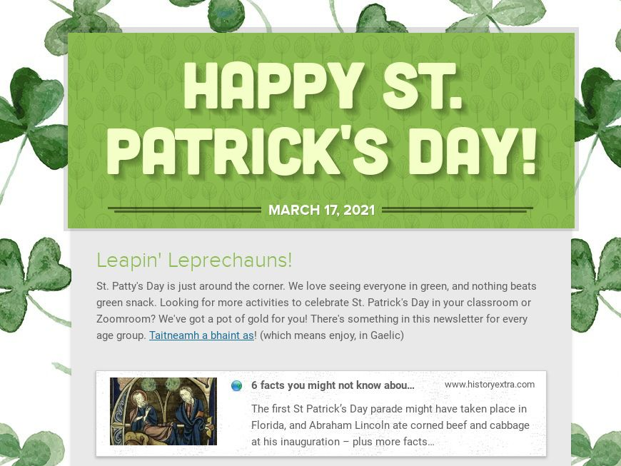 Saint Patrick's Day Template for Teachers and Educators