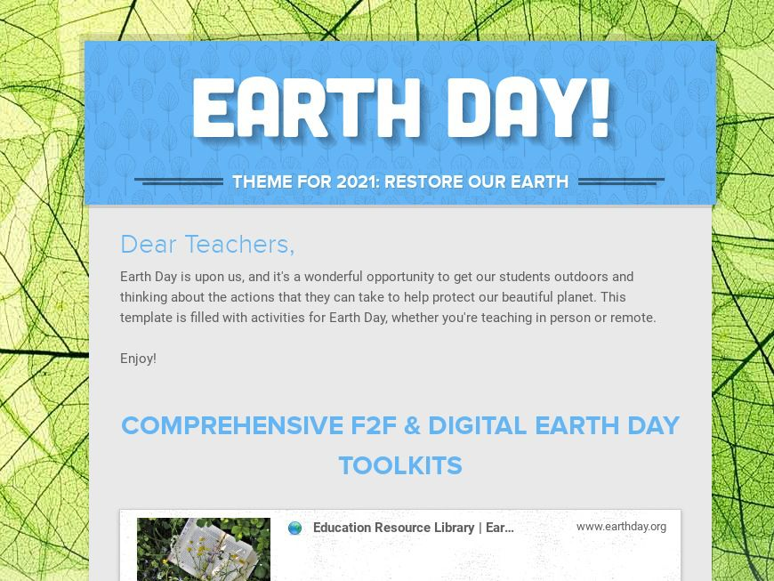 Earth Day Activities for Kids Template