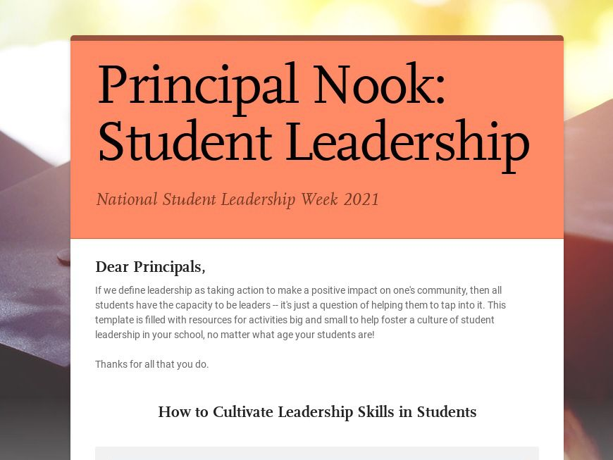 Fostering Student Leadership Template