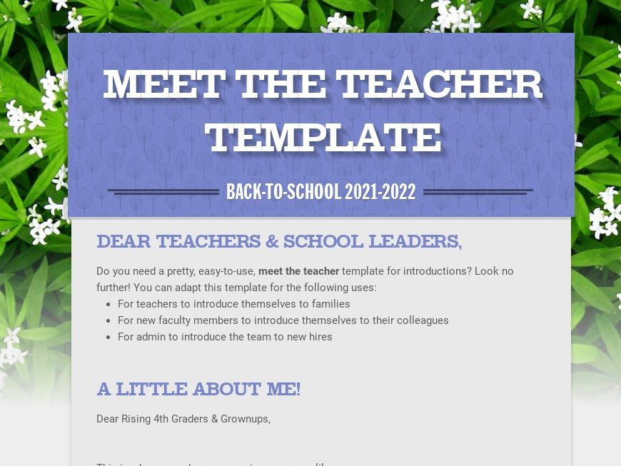 Free Meet the Teacher Template
