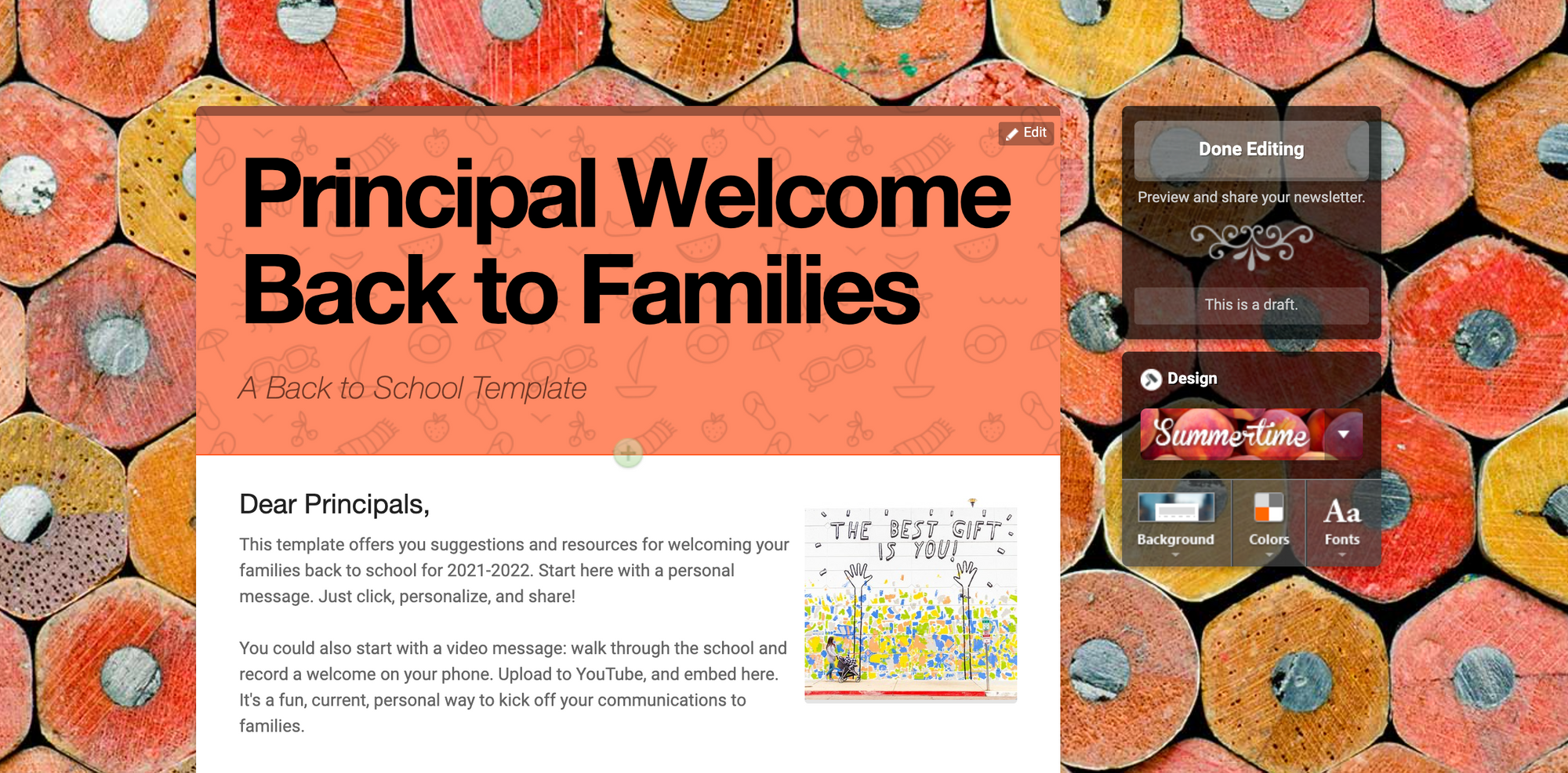 Back to school newsletter template titles Principal Welcome Back to Families from Smore's school newsletter template center