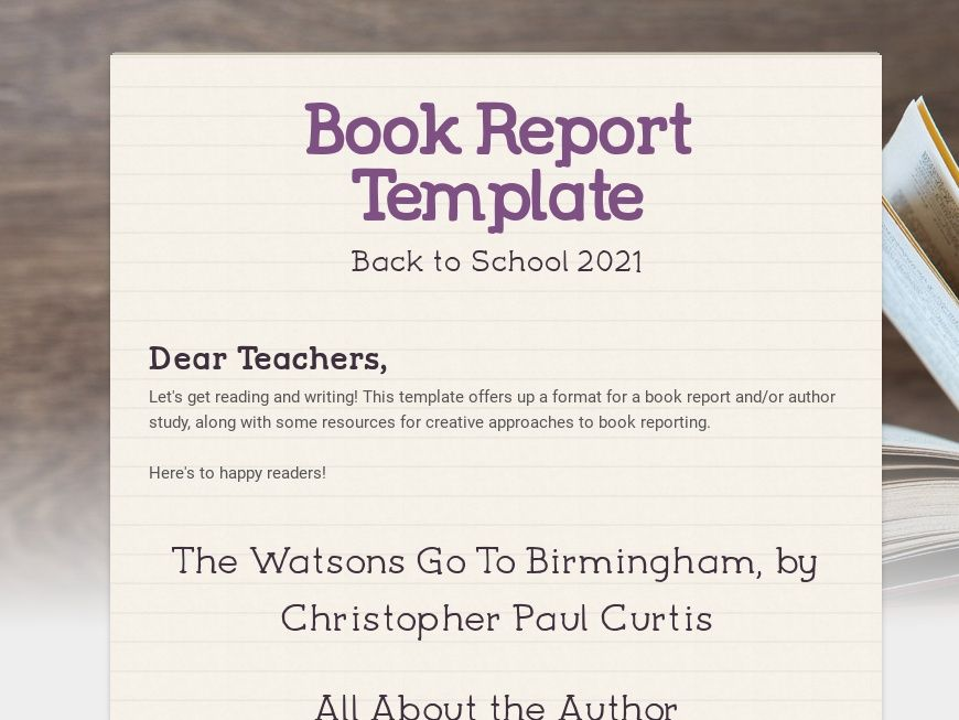 Book Report Format Template