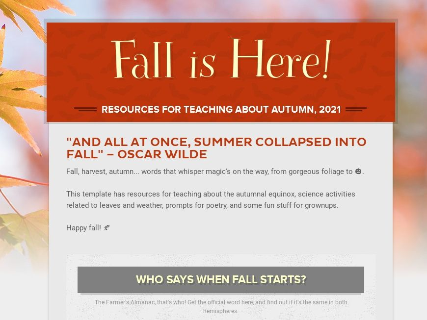 Fall and autumn resources school newsletter template