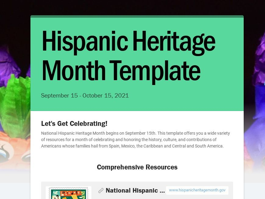 School Newsletter Template for Hispanic Heritage Month for use by teachers and educators