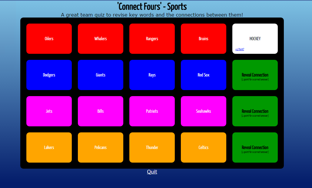 Connect Fours - A Fun, New Review Game from @RusselTarr | Free Technology for Teachers | Bloglovin