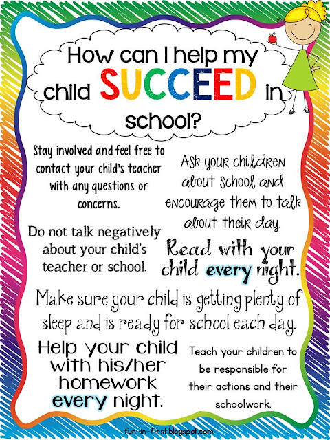 Tips for Parents...How to Help My Child Succeed - Fun in First Grade