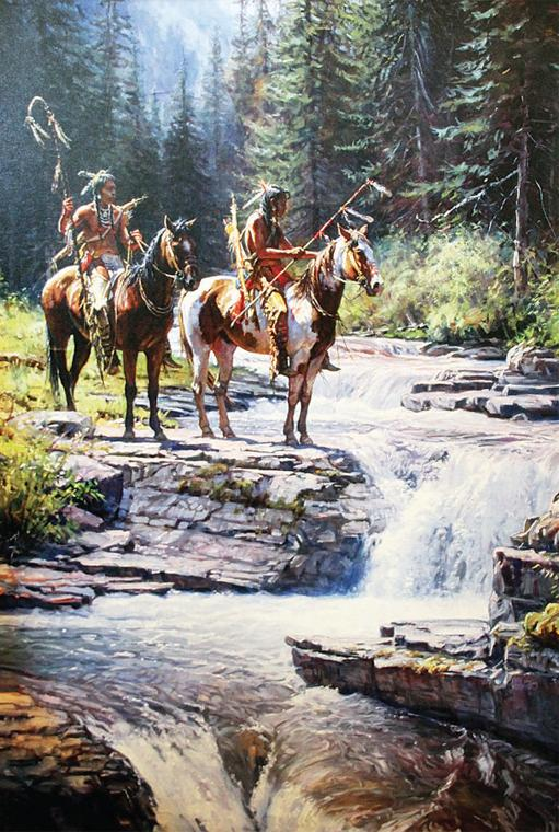 Art by Martin Grelle on display at Blackfeet Housing on April 12