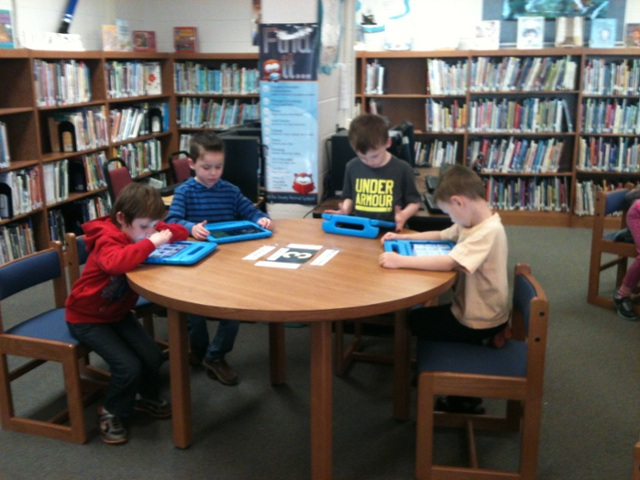 Kindergarten students process new initiative., Library le... by jane martellino
