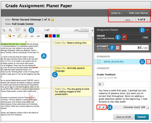 Grading Assignments in Blackboard by Cynthia Butler