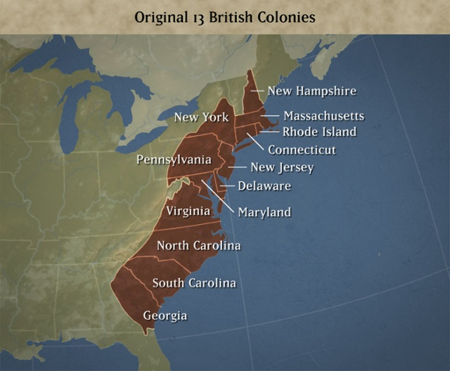13 Colonies Map by Biko