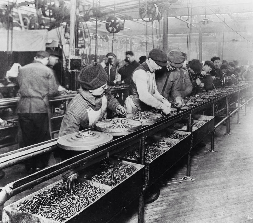 """Workers on the first moving assembly line..."" by ths8726"