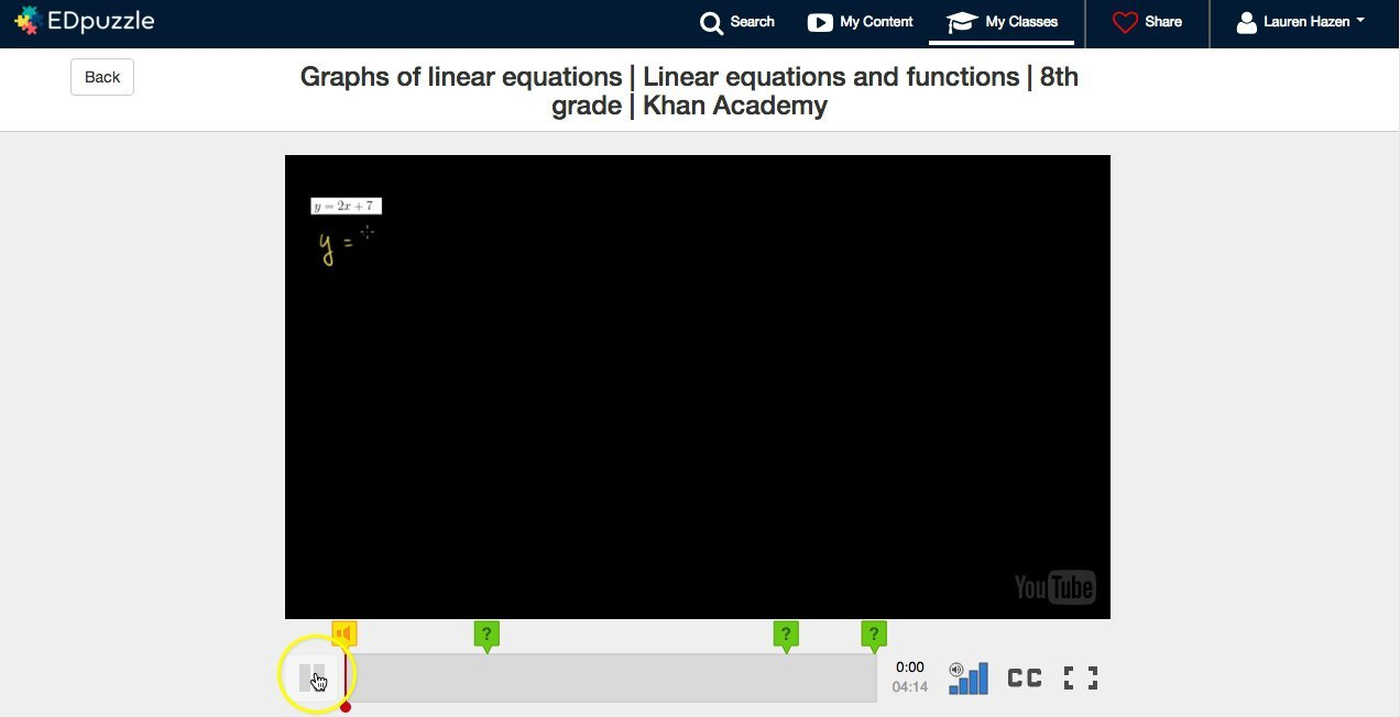 EDpuzzle: Graphing a Linear Equation
