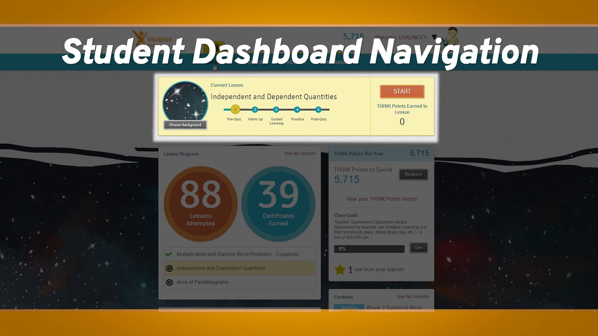 Student Dashboard Navigation (Part 1 for Students): Imagine Math