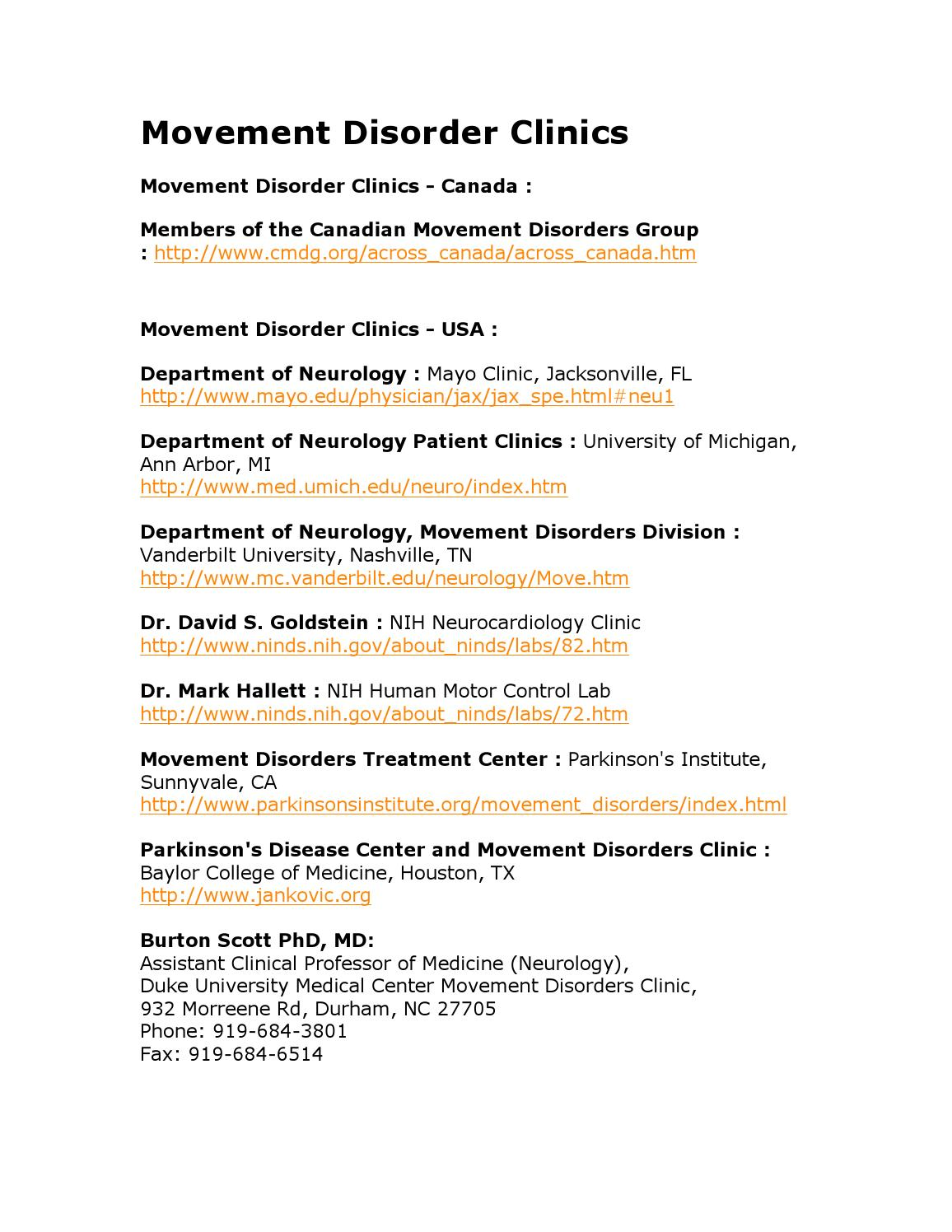 List Of MSA Parkinson's Disease Center and Movement Disorders Clinic
