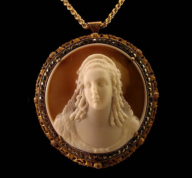 Rare 60mm Isabella d'Este Shell Cameo Brooch Pendant Marcasites