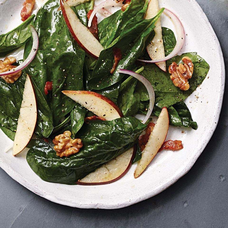 Warm Pear & Spinach Salad with Maple-Bacon Vinaigrette Recipe