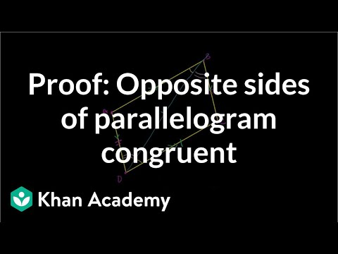Proof: Opposite sides of a parallelogram are congruent (and conversely)