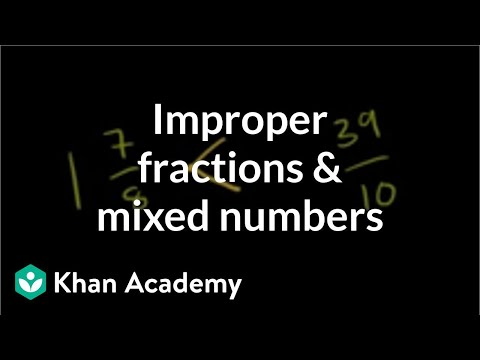 Comparing improper fractions and mixed numbers