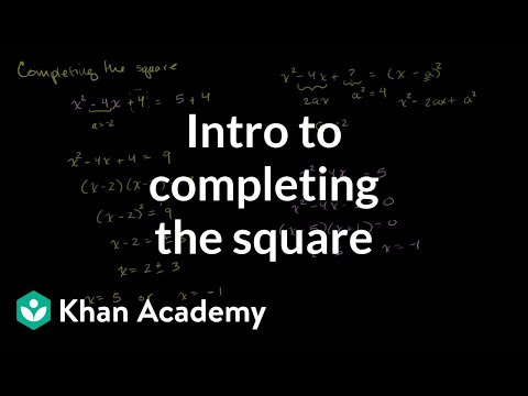 "Introduction to the method of ""completing the square"""
