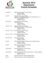 14 Summer Department Dates - Chronological