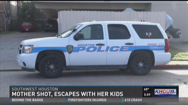 Mother shot, escapes with her kids