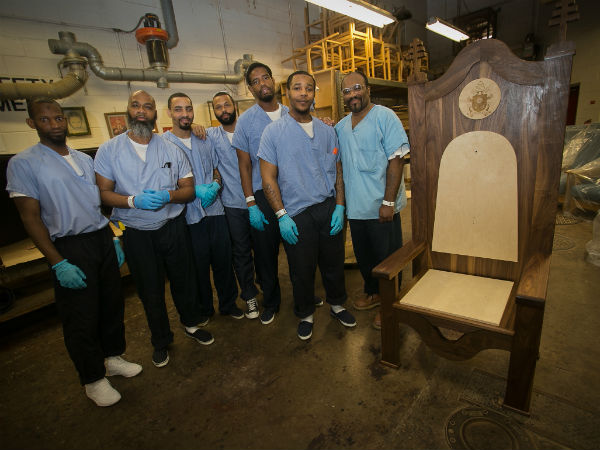 Philly inmates make carved chair for Pope Francis