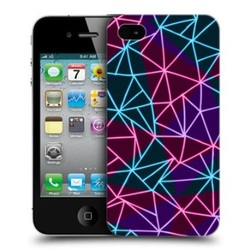 e_cell - Head Case Neon Lines Geometric Design Hard Back Case Cover for Apple iPhone 4 and 4S