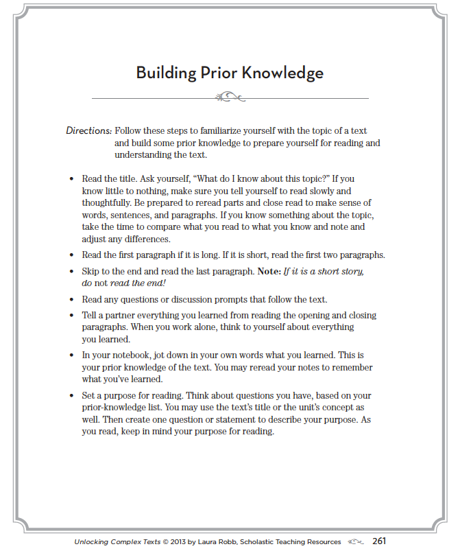 Teach Kids to Build Their Own Prior Knowledge
