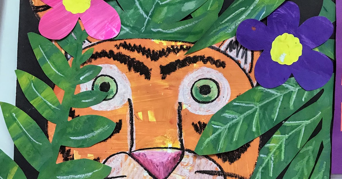 3rd Grade Painted Paper Tiger Collage