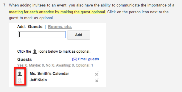Google Calendar - Optional Guests