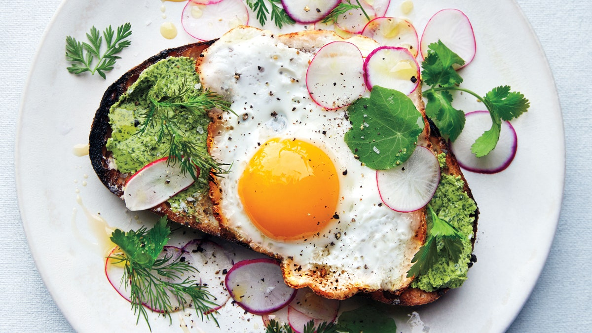 Fried Egg on Toast with Salted Herb Butter  Recipe