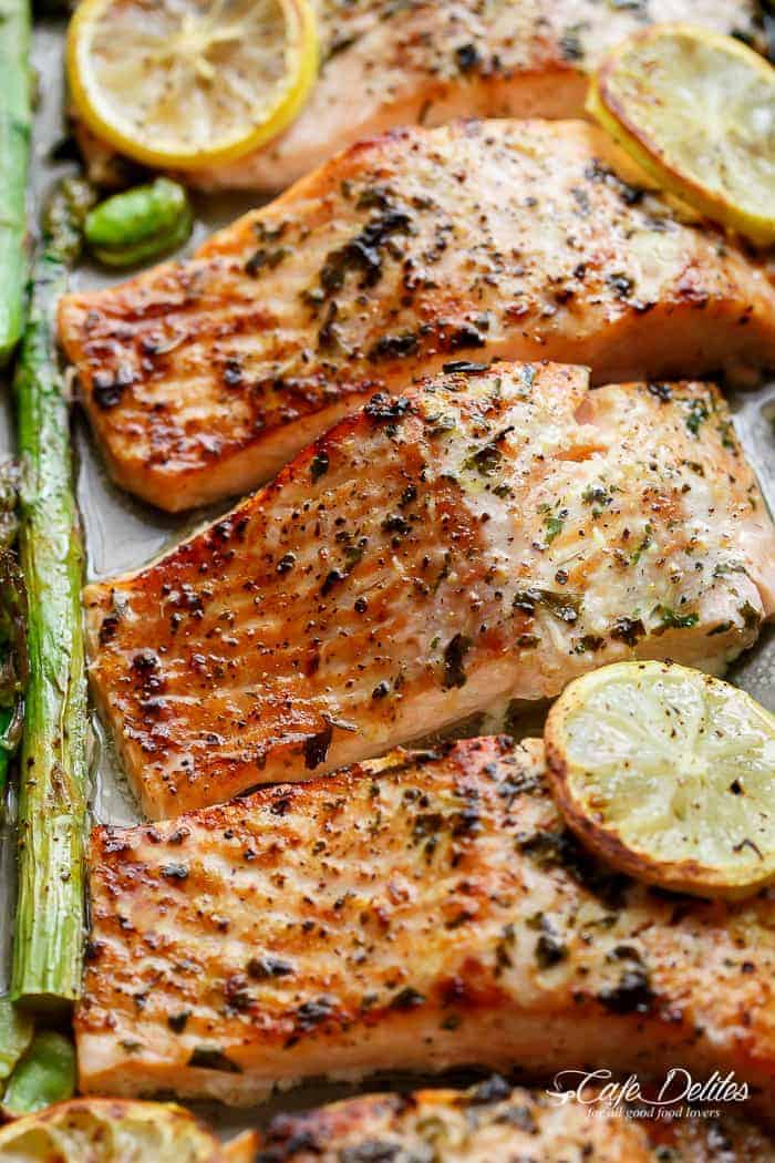 One Pan Lemon Garlic Baked Salmon + Asparagus - Cafe Delites