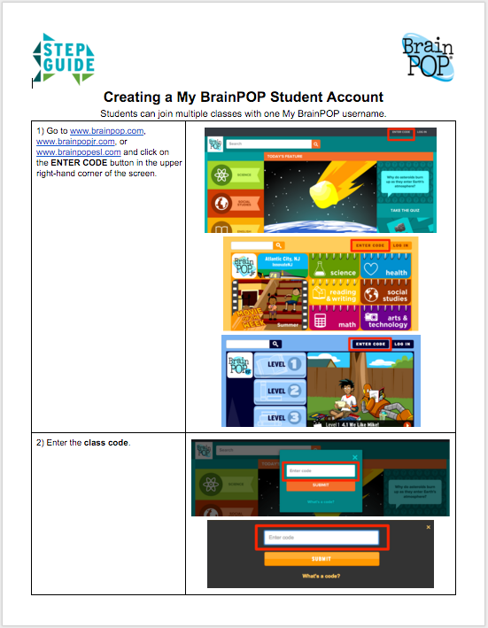 Creating a My BrainPOP Student Account - Step Guide