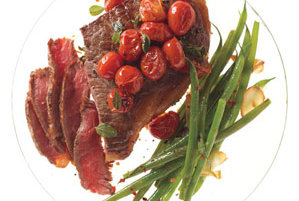 Steak With Skillet Tomatoes and Spicy Green Beans