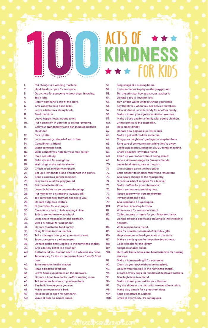 100 Acts of Kindness for Kids | Coffee Cups and Crayons