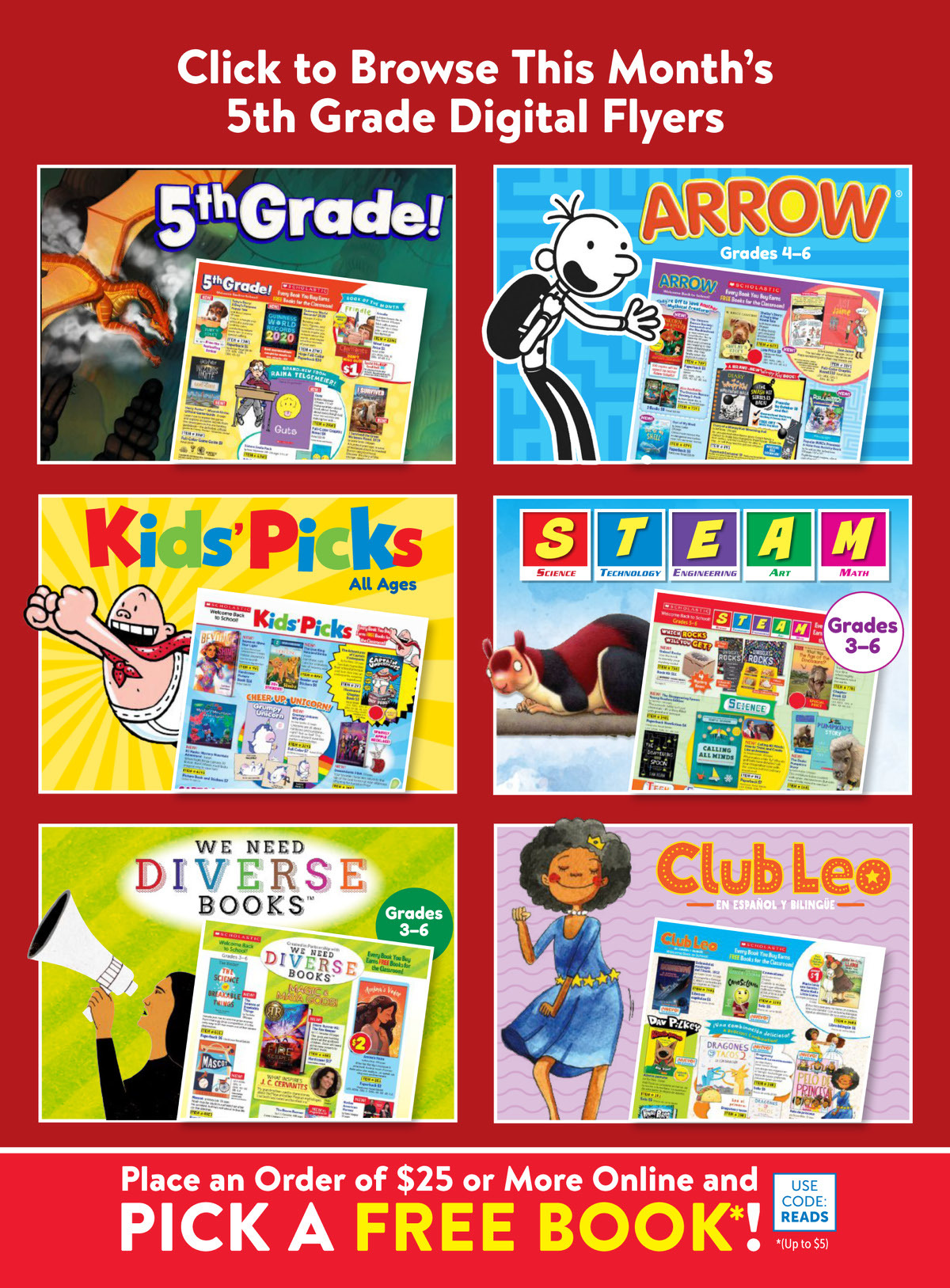 Scholastic Book Clubs: All Digital Flyers for 5th Grade September