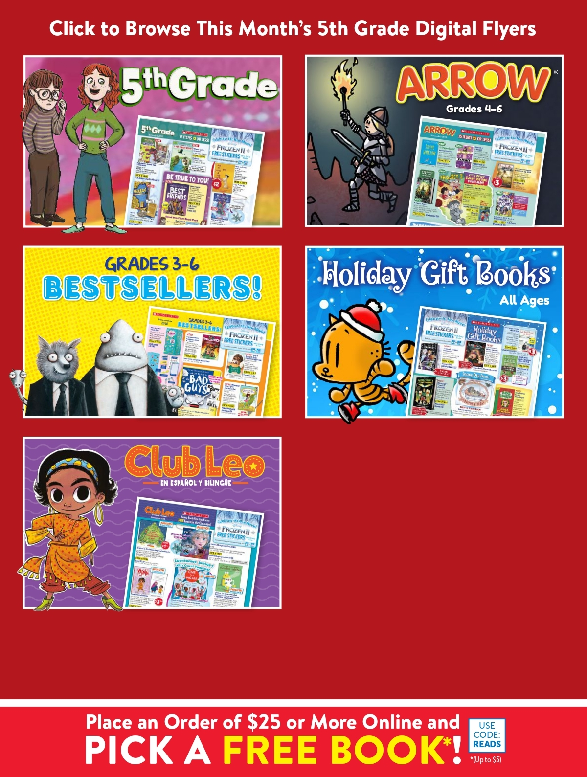 Scholastic Book Clubs: All Digital Flyers for 5th Grade November