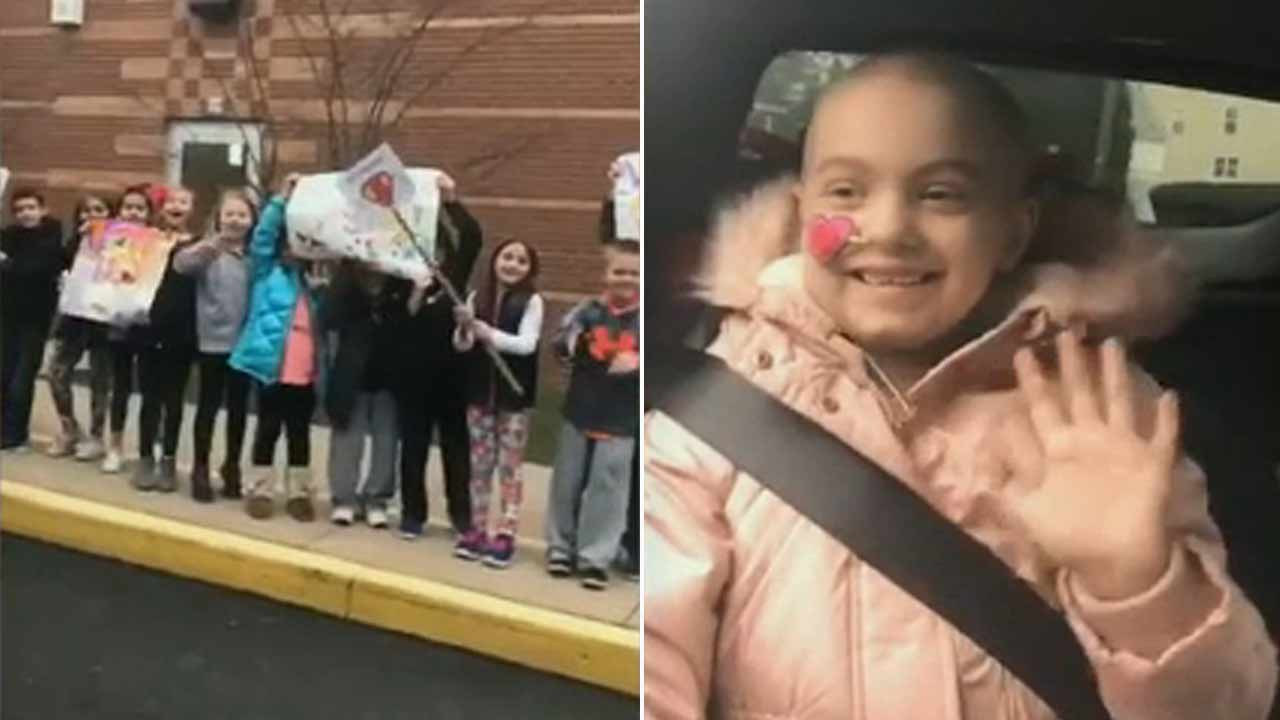 Girl battling cancer receives show of love from classmates