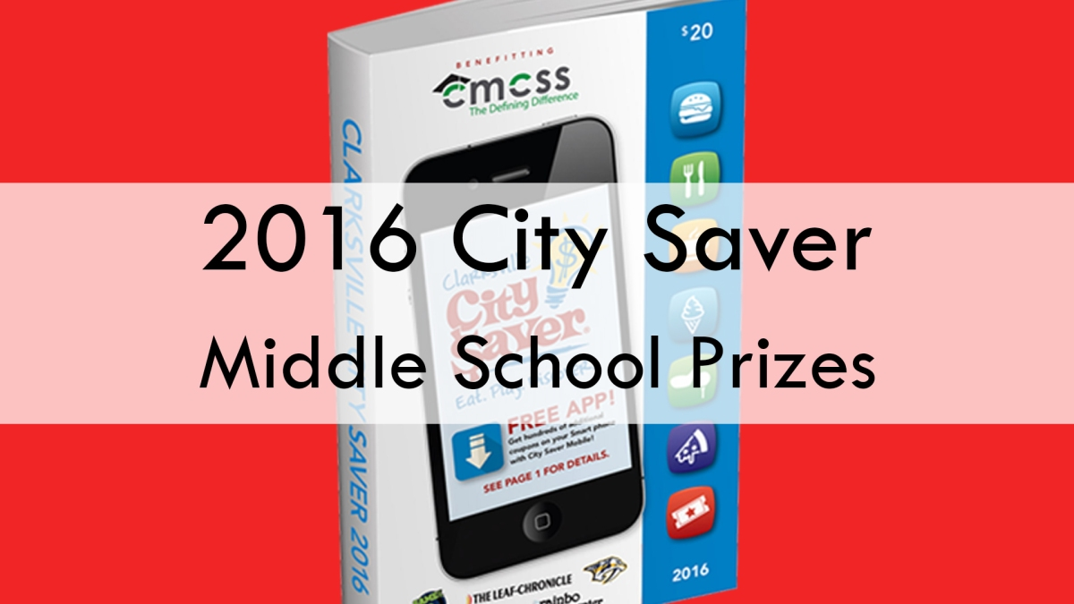 2016 City Saver - Middle School Prizes