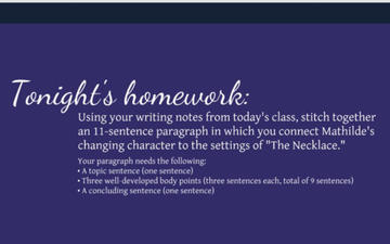 The Necklace - Connecting Character Development To Setting | Educreations