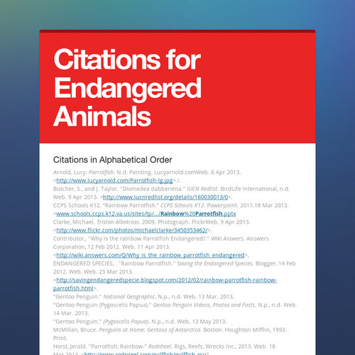 Citations for Endangered Animals