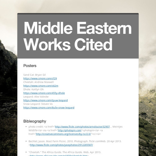 Middle Eastern Works Cited