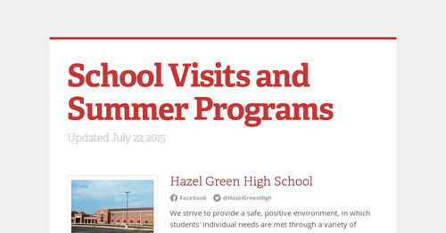 School Visits and Summer Programs