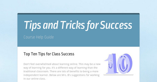 Tips and Tricks for Success