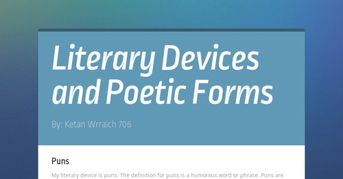 Literary Devices and Poetic Forms