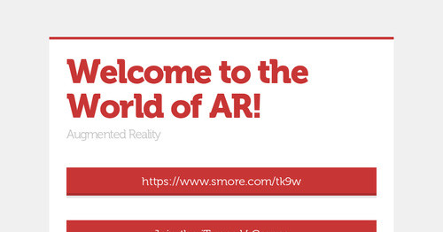 Welcome to the World of AR!